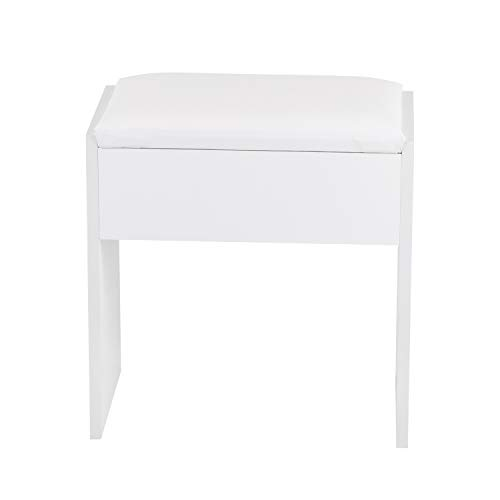 Jooli H Dressing Table Stool, Padded Bench Chair Makeup Seat Baroque Piano Chair White, 40 x 23.5 x 43cm