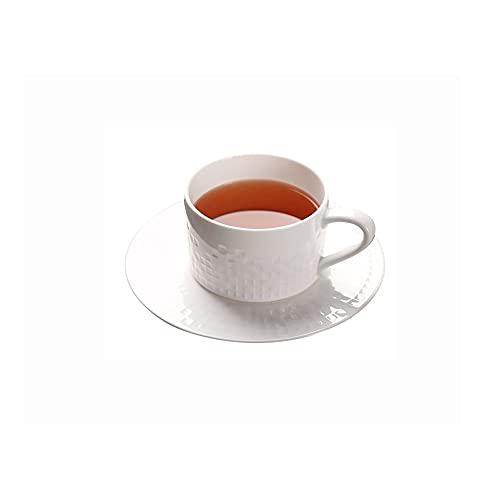 SXXYTCWL Taza de café Color Pure Bone China Tazas de café y platillo Conjunto Simple European Coffee Tazas de café Taza de Avena Adecuado para la reunión de la Familia Cafetería