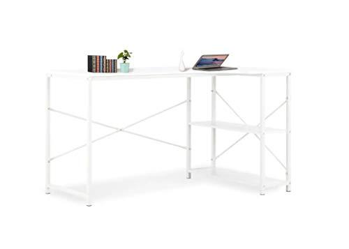 Pissente Escritorio de Ordenador en Forma de L, Mesa de Computadora Blanca de Estilo Nórdico para Hogar y Oficina 120 x 72 x 70 cm