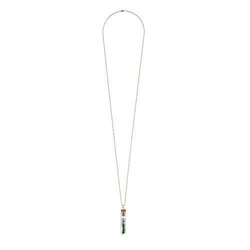 Collar Tubo de ensayo jarrón de flores (cadena de oro–flor azul) fabricada...