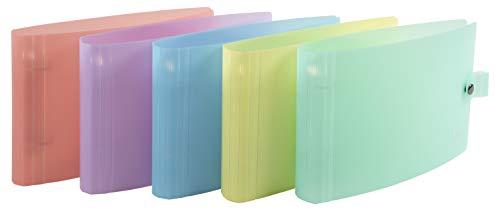 Exacompta -Réf 52170E- Classeur 2anneaux30mm -Chromaline pastel- polypro translucide -26,5x16cm pour fiches bristol formats 125x200mm/148x210mm- couleur aléatoire: bleu, corail, jaune, mauve, vert