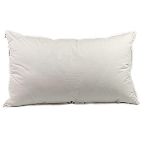 Almohada de lana con revestimiento de algodón percal certificado GOTS, 100% fibra natural sin tratar, cojín con relleno de lana peinada suave que regula la humedad.