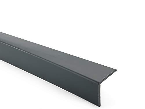 Cornière PVC, gris foncé, adhésive, protection dangles et de rebords, 40x40, souple, 200 cm