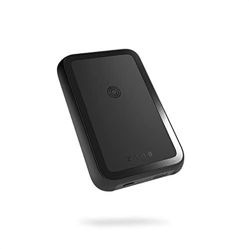 ZENS Qi Certificado Powerbank inalámbrico 4000mAh (Compatibilidad Total con MagSafe Gracias a los imanes incorporados | Soporte Integrado | Cable USB-C Incluido | Recarga inalámbrica)