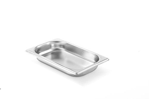 HENDI Gastronormbehälter, Temperaturbeständig von -40° bis 300°C, Heissluftöfen-Kühl- und Tiefkühlschränken-Chafing Dishes-Bain Marie, Stapelbar, 0,9L, GN 1/4, 265x162(H)20mm, Edelstahl 18/10