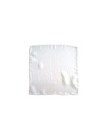 100% Soie Foulard Blanc (22,5 x 22,5 cm)