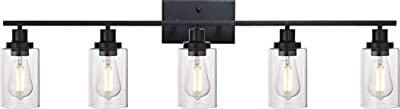 MELUCEE 40 Inches Length 5-Light Bathroom Vanity Light Fixtures Black Industrial Wall Sconce Lighting with Clear Glass Shade for Living Room Bedroom Hallway Kitchen