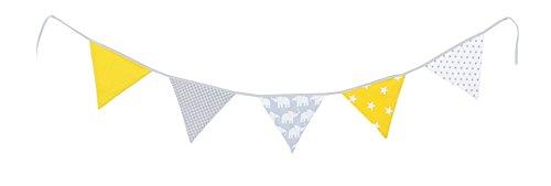 Bandierine ULLENBOOM  elefanti, giallo (ghirlanda di stoffa: 1,90 m, 5 bandierine, decorazione per la cameretta per bambini e feste)