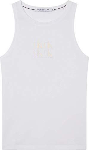 Calvin Klein Jeans Shine Logo Racer Back Top Cuello extendido, Blanco Brillante, XS para Mujer