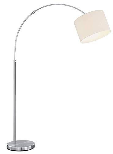 piantana moderna lampada da terra ad arco regolabile metallo nickel paralume bianco e27 led per soggiorno