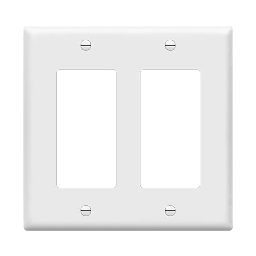 ENERLITES Decorator Light Switch or Receptacle Outlet Wall Plate, Size 2-Gang 4.50' x 4.57', Unbreakable Polycarbonate Thermoplastic, UL Listed, 8832-W, White