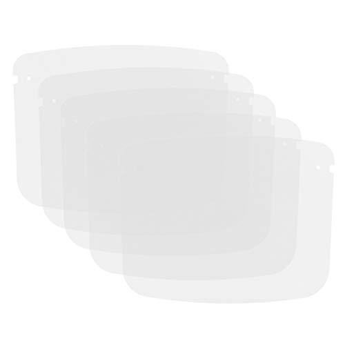 Cabilock 5pcs Gesichtsschild Ersatz Transparent Visier Schutzschild Ohne Rahmen Gesicht Augen Gesichtsabdeckung Wasserfest Spritzschutz Küche Garten