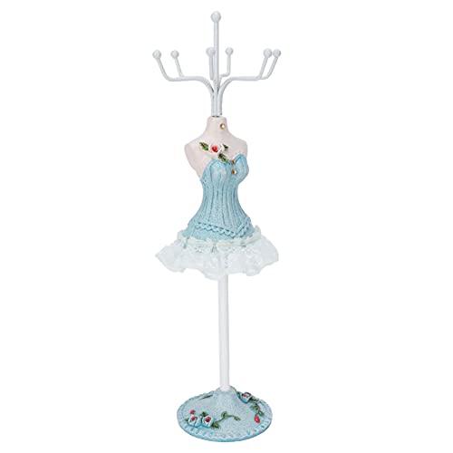 Soporte para collar con figura de dama, soporte de exhibición de joyería con base redonda de resina giratoria, patrón delicado con estante para guardar collares para adornos de mesa(Lake Blue No. 1)