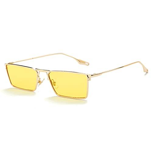 xzl Gafas de Sol Retro para Mujeres Marco de Metal Cuadrado Lentes no polarizadas, Gafas de Sol de Moda para Mujeres Hombres, Marco de Confort Ultraligero, B