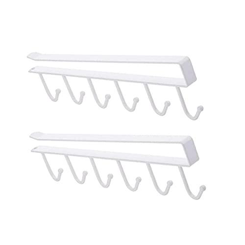 litulituhallo Gancho para colgar en el armario, de hierro, 6 tazas, para debajo del gabinete, para colgar tazas, 2 unidades, color blanco