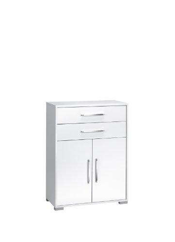 MAJA-Möbel 1227 3956 Aktenregal mit Schubladen und Türen, Icy-weiß - weiß Hochglanz, Abmessungen BxHxT: 80 x 109,7 x 40 cm