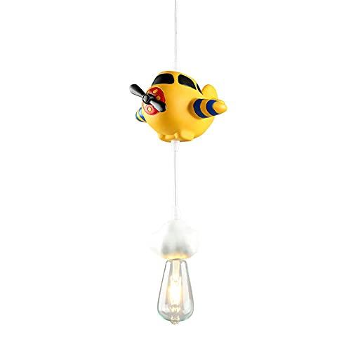NAMFHZW Avión creativo Lámpara colgante pequeña con pantalla de resina Lámpara colgante E27 1 luz Lámpara colgante de techo semi empotrada Conjunto ajustable Luminaria Tema Restaurante Café Iluminació