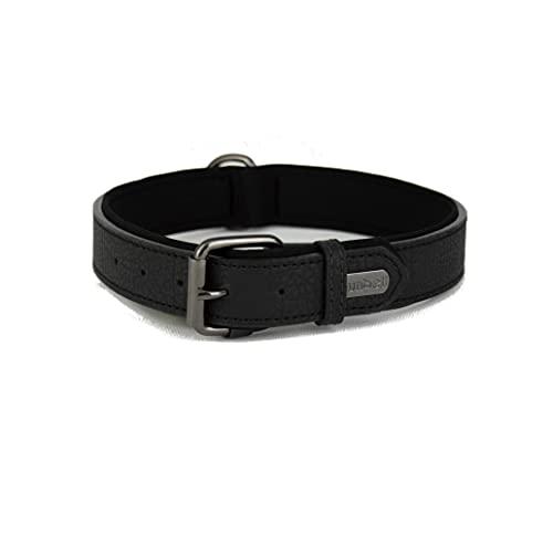 Collare per cani in morbida pelle imbottita con anello a D, collare per cani di taglia media e grande (Nero)