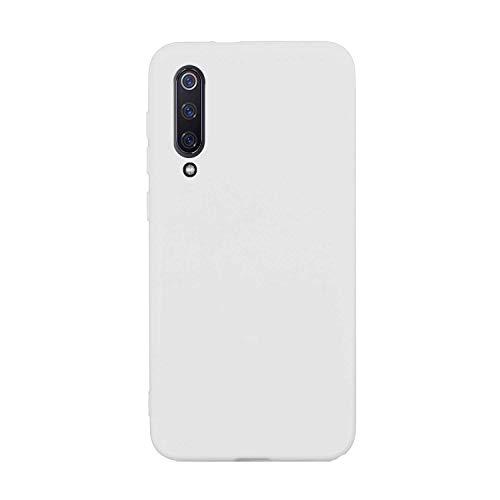 CUZZCASE Funda para Xiaomi Mi 9 SE+{Protector de Pantalla de Vidrio Templado} Carcasa Silicona Suave Gel Rasguño y Resistente Teléfono Móvil Cover-Blanco