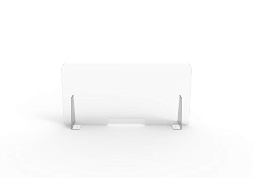 Pannello Protettivo Parasputi/Parafiato da Banco in Plexiglas misura 100x50 cm… (Trasparente con finestra)