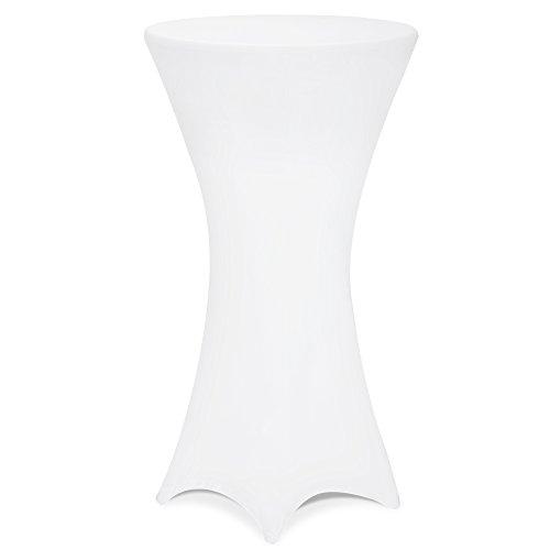 DEUBA 5er Set Stehtischhusse Tischhusse Husse Stehtisch Bistrotisch Tisch verschiedene Größen Ø 60/70/80 cm - Farbauswahl / (Ø 80 cm, weiß)