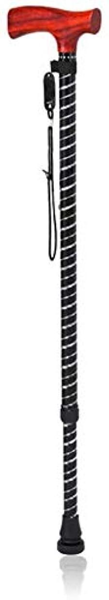 満員人里離れた割る老人松葉杖 ノンスリップベースとストラップ付き男性/女性関節炎高齢者障害者や高齢者のモビリティ杖のための10の調節可能な高さレベルは、木製の人間工学に基づいたハンドルとスティック軽量杖をウォーキング 無効杖 (Color : Black)