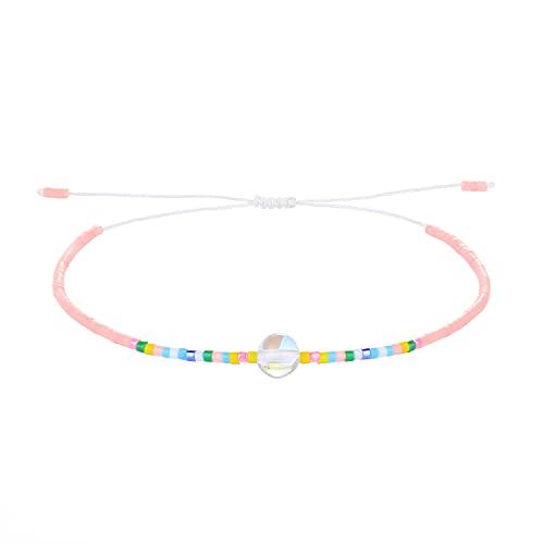 C·QUAN CHI Coloré Bracelet Perles Miyui Bracelet Amitié pour Fille Petit Bracelet Cordon avec Perles Cristal