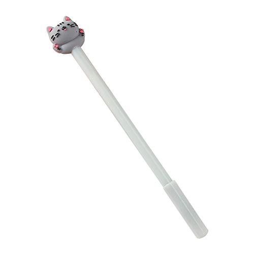 Da.Wa 10X Bolígrafos de Tinta Gel de Creativas Estilo Gatito Lindo Kawaii Bolis Blanco Longitud 18cm