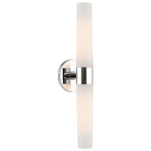 Kira Home Duo 21' Modern 2-Light Wall Sconce with Frosted Opal Glass Shades, for Bathroom/Vanity, Chrome Finish