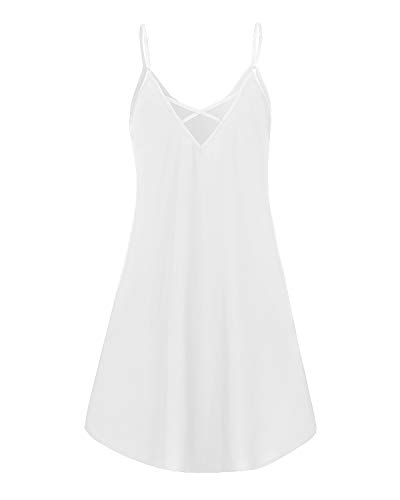 ZANZEA Vestido Mujer Verano Tirantes Color Sólido Vestido Playa Talla Grande Cuello Redondo Sin Mangas Casual 04-Blanco XXL