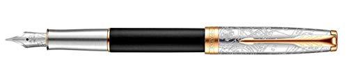 Parker Sonnet Special Edition Impression Gt Medium Nib pluma estilográfica Negro, Oro, Plata 1 pieza(s) - Pluma estilográficas (Negro, Oro, Plata,...