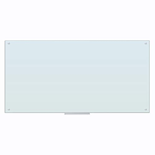 U Brands Glass Dry Erase Board, 35 x 70 Inches, White Frosted Non-Magnetic Surface, Frameless (123U00-01)