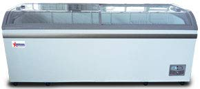 OMCAN 37815 79' Commercial Curve Glass Novelty ICE Cream Freezer Chest