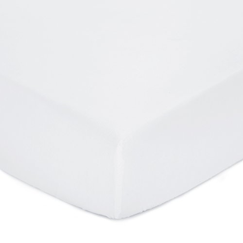 """TILLYOU Silky Soft Microfiber Fitted Crib Sheet for Baby Boys Girls, Hypoallergenic Breathable Mattress Cover for Toddler Bed, PremiumCozyNursery Bedding Sheet, Standard 28""""x52""""x8"""", White"""