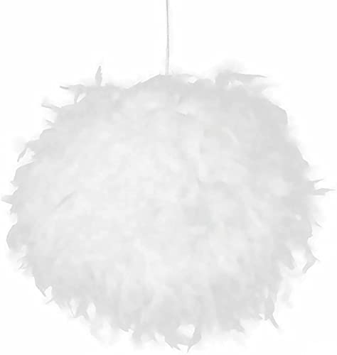 Donpow Feather Light Shade, lamp shade Modern Style Feather Pendant Lampshade, Fluffy Feather Ceiling Light Shade for Living Room Bedroom,Wedding or Party Decoration,Diameter 25cm, White