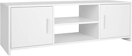 Zhaoyun TV Stand Kast TV Unit Houten TV Bank Moderne Opbergkast met 2 Deuren Planken voor Woonkamer Zwart 110 * 35 * 36cm