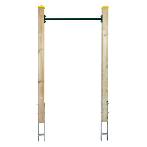 ELYFLAIR® - Reckstange Garten - Grün - Höhenverstellbares Reck aus druckimprägniertem Holz - Gartenspielgerät mit einem sicheren Halt in der Erde - Turnreck Kinder (Grün)
