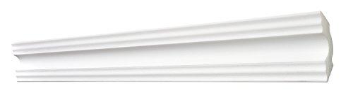 DECOSA Zierprofil A50 SONJA - Edle Stuckleiste in Weiß - 10 Leisten à 2 m Länge = 20 m - Zierleiste aus Styropor 50 x 50 mm - Für Decke oder Wand