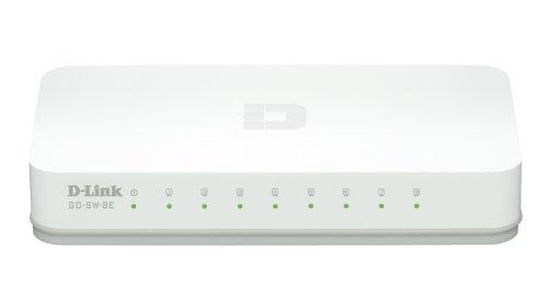 D-Link GO-SW-8E Switch Desktop, Fast Ethernet 10/100Mbps, RJ45, Plug & Play, 8 Porte, Bianco
