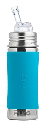 Pura Edelstahl Flasche mit Silikon Stroh & Ärmel, aqua (Kunststoff, frei von Bisphenol A, nicht toxischer, zertifiziert