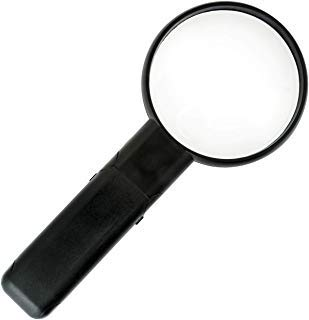 """WITHit Hands-Free Collapsible Lighted Magnifier 3.5"""" D Black – 2X Magnification with 4X Bubble Portable LED Magnifying Glass for Reading with Hinged Stand"""