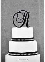 Monogram Inital Letter Acrylic Cake Topper Wedding A B C D E F G H I J K L M N O P Q R S T U V W X Y Z & (R, Glittery Silver)