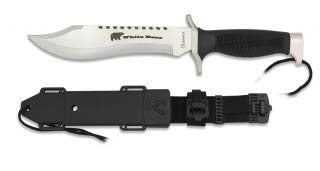 Afilado Cuchillo de para caza, pesca, camping, outdoor, Supervivencia y bushcarft White Bear, con Funda + Navaja de Regalo.