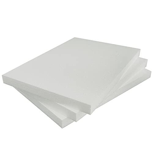 Styropor Lot de 3 plaques de polystyrène rectangulaires A4 210 x 297 x 20 mm pour Loisirs, modélisme, projets créatifs, Blanc 21x29,7x2 cm
