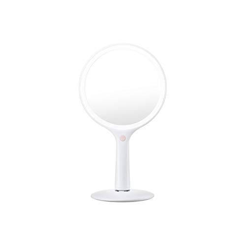 C-J-Xin Miroir de Maquillage Ronde, poignée de beauté Miroir Miroir de Charge par LED Vanity 360 ° Miroirs de Table Double Face Miroir grossissant Miroir de Maquillage