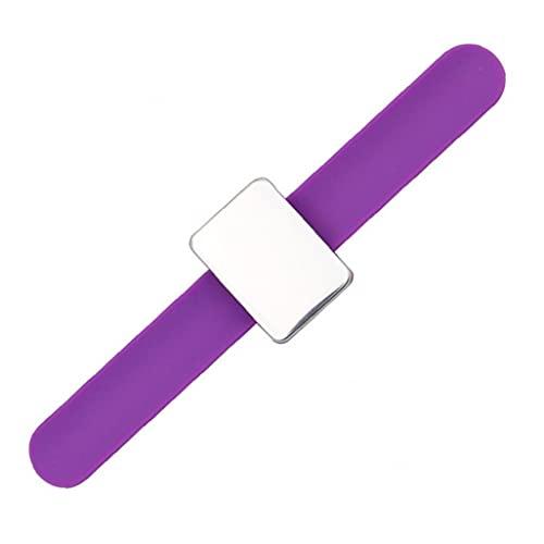 Hiinice Soporte De Perno Magnético Pin Cuadrado Soporte De Cojín Brazo Pin Magnético Cojín con Correa De Pulsera De Silicona Accesorios Púrpura