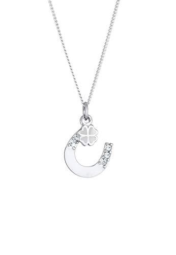Elli Halskette Damen mit Anhänger Hufeisen Kleeblatt mit Kristallen in 925 Sterling Silber