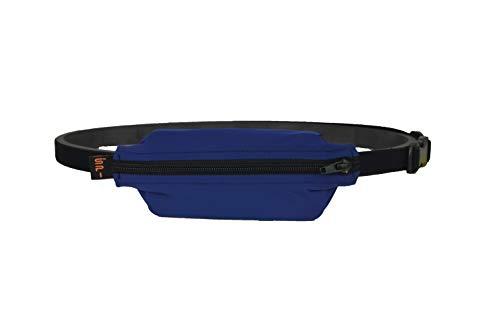 SPIbelt Cinturon sin rebote para ninos con agujero para bomba de insulina, dispositivos medicos o auriculares para ninos activos, azul con cremallera negra