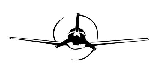 Flugzeug Aufkleber Flieger Decal Autoaufkleber Wandtattoo in 15cm, 20cm, 25cm (151/6) (schwarz Glanz, 20cm)