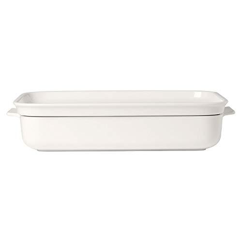 Villeroy & Boch - Clever Cooking Teglia rettangolare 2 pz, stampo per sformati con coperchio funzionale in porcellana di alta qualità, adatta per il forno e lavabile in lavastoviglie